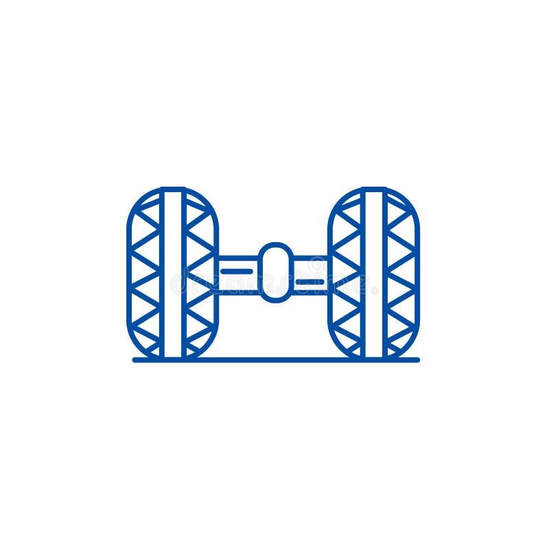 Koła wyrównanie, garaż ikony kreskowy pojęcie Koła wyrównanie, garażu płaski wektorowy symbol, znak, kontur ilustracja ilustracji