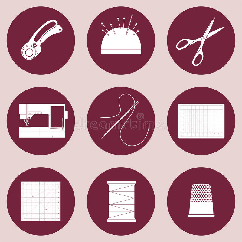 Kołderki i patchworku ikony narzędzia i dostawy dla, szyć, aplikaci, tekstylnych sztuk i rzemioseł, Płaskiego projekta wektorowe  ilustracja wektor