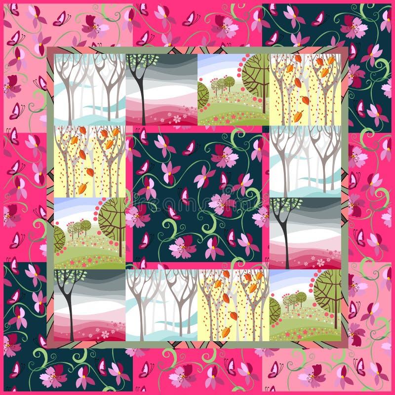 Kołdrowa koc patchwork cztery pory roku royalty ilustracja