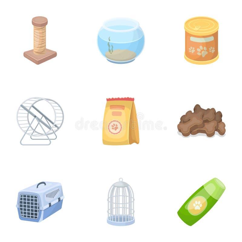 Kołnierz, zwierzęcia domowego jedzenie i inni produkty, Zwierzę domowe sklepu ustalone inkasowe ikony w kreskówka stylu wektorowy ilustracja wektor