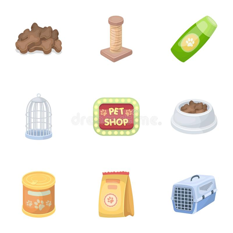 Kołnierz, zwierzęcia domowego jedzenie i inni produkty, Zwierzę domowe sklepu ustalone inkasowe ikony w kreskówka stylu wektorowy royalty ilustracja