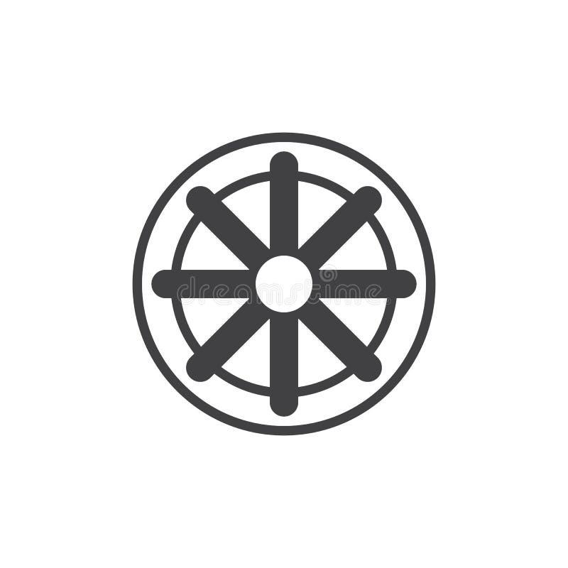 Koło Dharma wektoru ikona ilustracja wektor