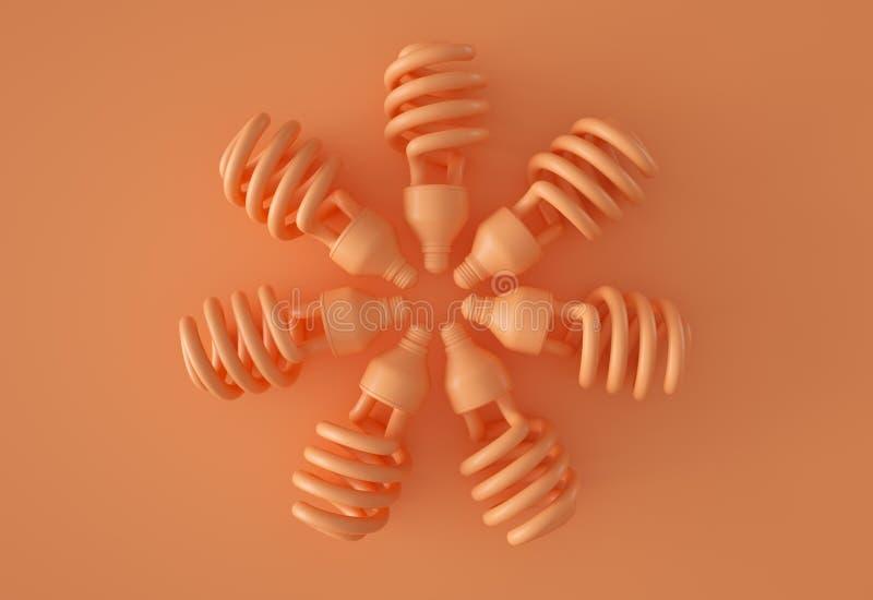 Koło pomarańczowe żarówki ilustracja wektor