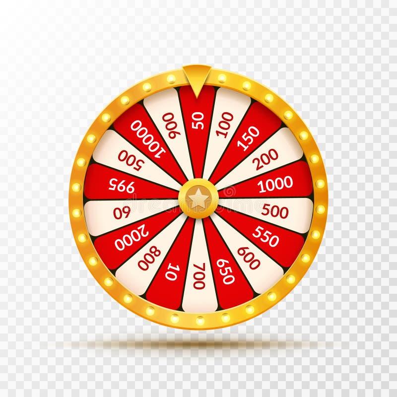 Koło pomyślności szczęścia loteryjna ilustracja Kasynowa gra szansa Wygrany pomyślności ruleta Hazard szansy czas wolny ilustracja wektor