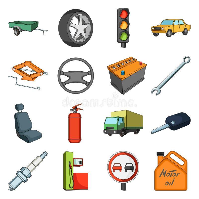 Koło, wyrwanie, dźwigarka i inny wyposażenie, Samochód ustalone inkasowe ikony w kreskówka stylu wektorowym symbolu zaopatrują il ilustracja wektor