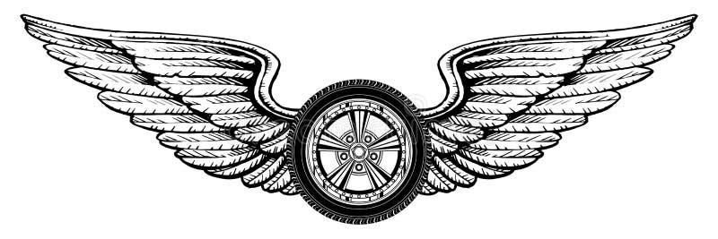 Koło Z skrzydłami royalty ilustracja