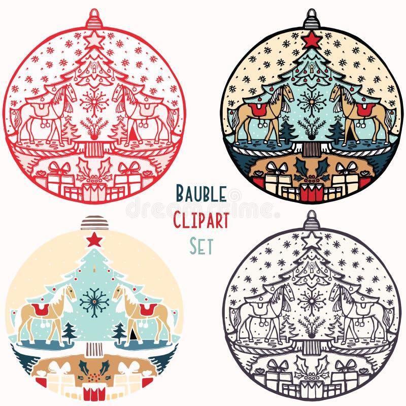 Kołysać konia bauble ornamentu zabawkarskiego Bożenarodzeniowego set Odosobniony świąteczny projekta element Ręka remisu zimy wak ilustracji