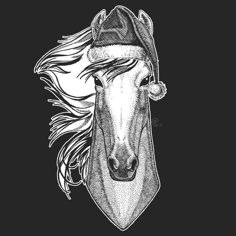 Koń, hossa, rycerz, rumak, courser boże narodzenia, nowego roku świętowanie Święty Mikołaj zimy kapelusz Xmas pióropusz royalty ilustracja