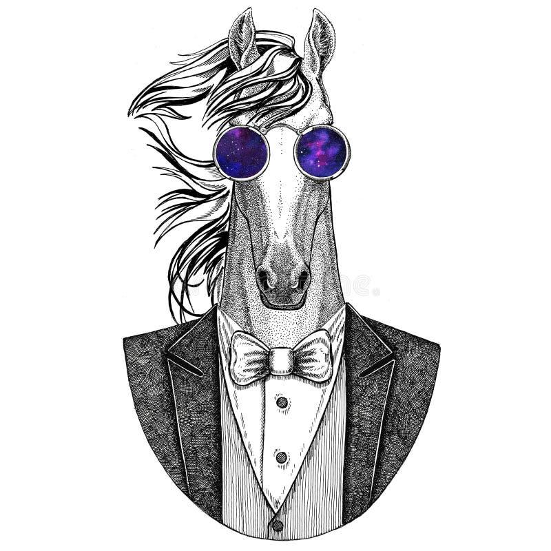 Koń, hossa, rycerz, rumak, courser modnisia zwierzęca ręka rysująca ilustracja dla tatuażu, emblemat, odznaka, logo, łata, t royalty ilustracja
