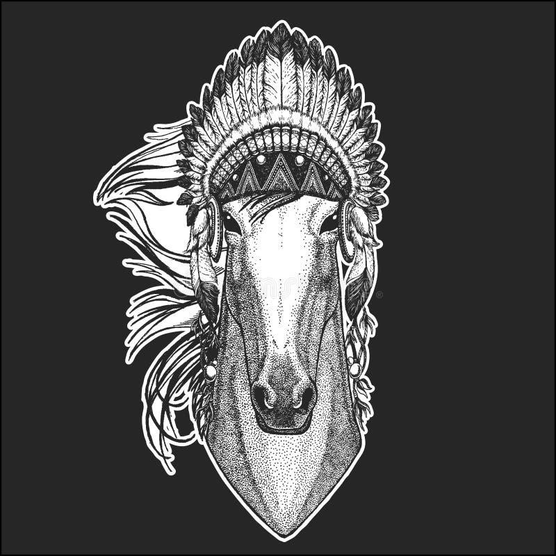 Koń, hossa, rycerz, rumak, courser rodowitego amerykanina Chłodno zwierzęcy jest ubranym indyjski pióropusz z piórka Boho szyka s ilustracja wektor