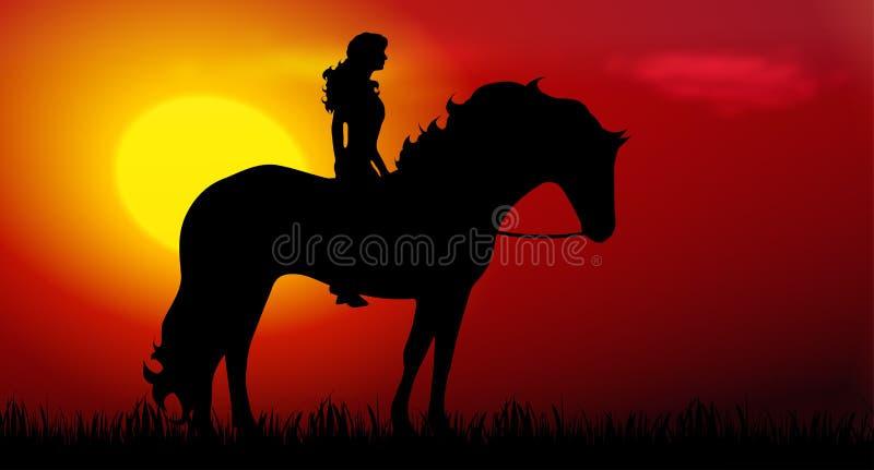 Koń i dziewczyna ilustracja wektor