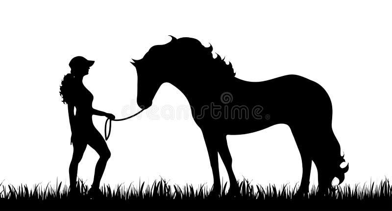 Koń i dziewczyna ilustracji