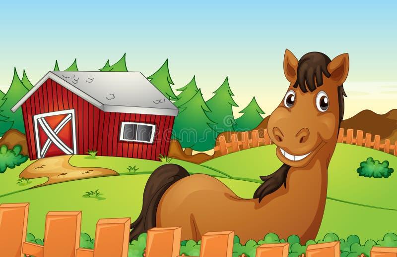 Koń i gospodarstwo rolne ilustracja wektor