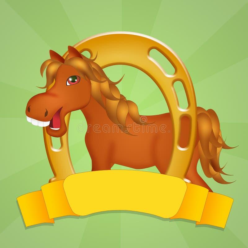 Koń i podkowa ilustracji