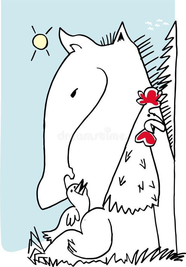 Koń, kogut i ptak wraz z błękitnym tłem, royalty ilustracja