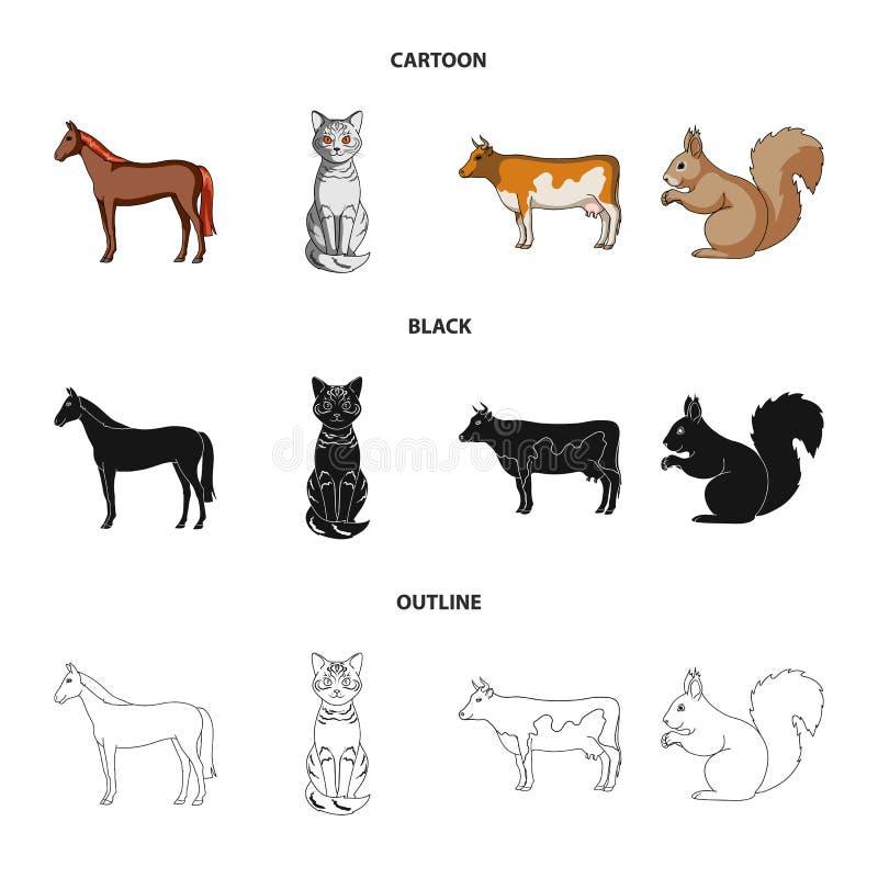 Koń, krowa, kot, wiewiórka i inni rodzaje zwierzęta, Zwierzę ustawiać inkasowe ikony w kreskówce, czerń, konturu stylowy wektor royalty ilustracja