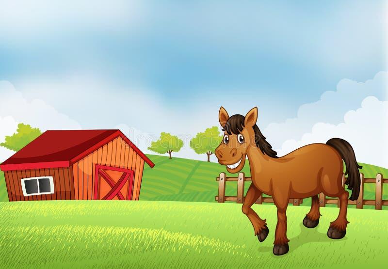 Koń przy gospodarstwem rolnym z stajnią przy plecy ilustracja wektor