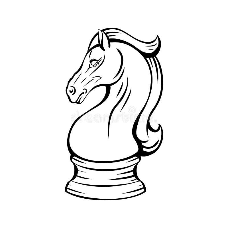 Koń szachowy rycerski Maskotka z dumą Symbol inteligentnego odtwarzania Obiekt konturu obraz royalty free