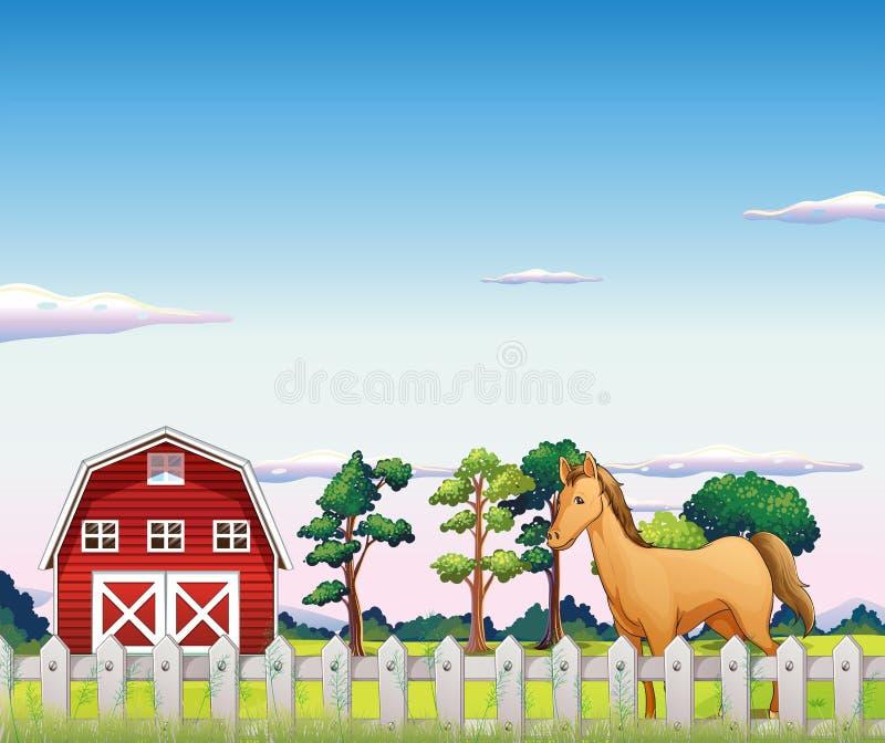 Koń wśrodku ogrodzenia z stajnią royalty ilustracja