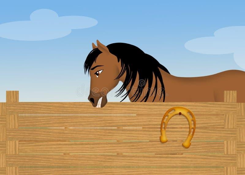 Koń w stajni royalty ilustracja