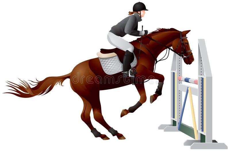 Koń wokoło target1062_0_ nad skokiem ilustracja wektor