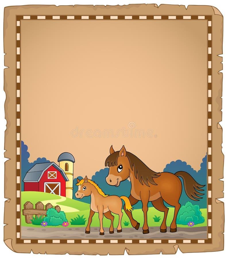 Koń z źrebię tematu pergaminem 1 ilustracji