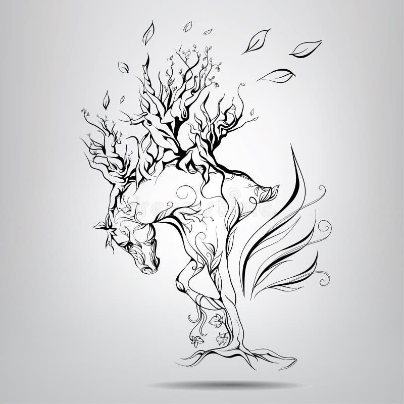 Koń z grzywą gałąź royalty ilustracja