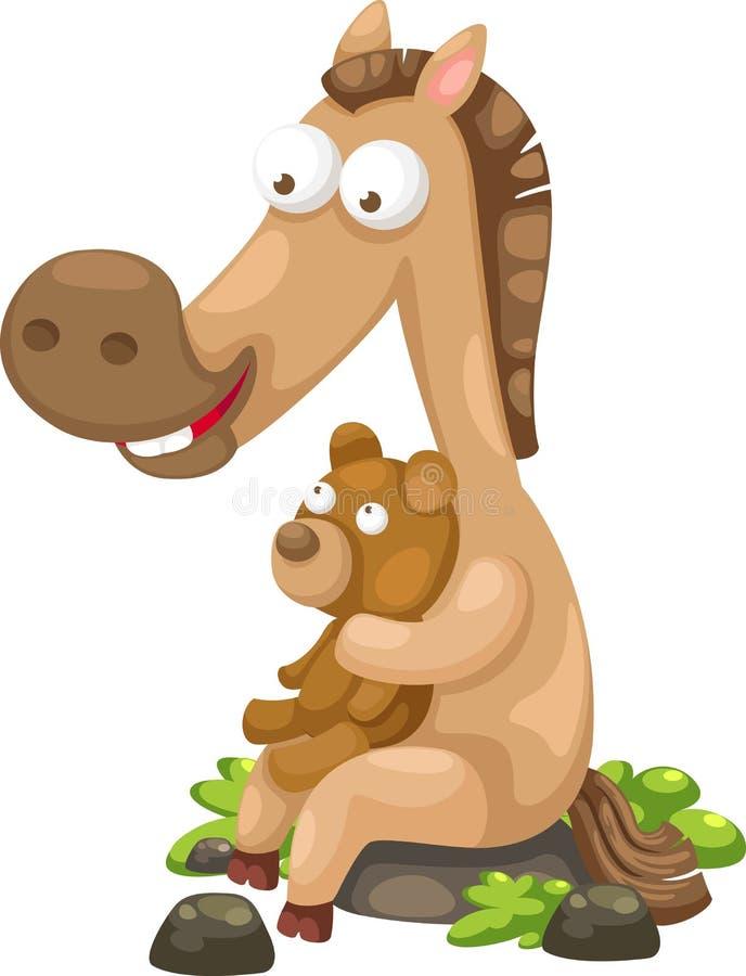 Koń z niedźwiedzia wektorem ilustracji
