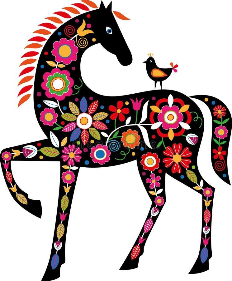 Koń z Słowackimi ludowymi ornamentami ilustracji