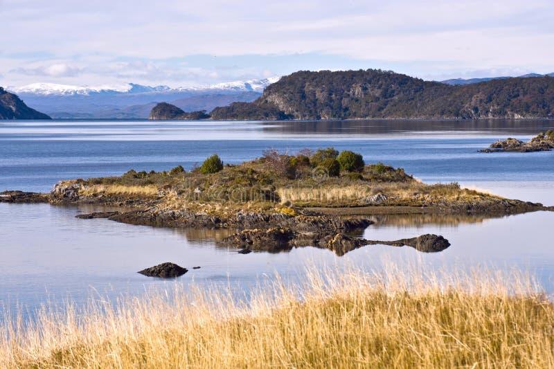 Końcówka Fireland, Tierra Del Fuego. Lapataia zatoka w Tierra de obraz stock
