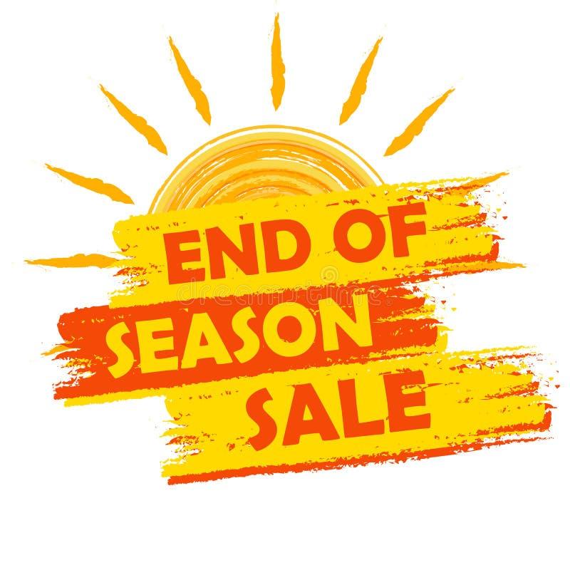 Końcówka sezon sprzedaż z lata słońca znakiem, kolorem żółtym i pomarańcze rysującymi, ilustracja wektor
