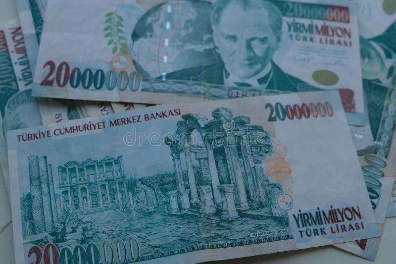 Końcowa stara Tureckiego lira pieniądze notatka fotografia stock