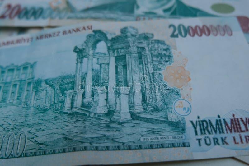 Końcowa stara Tureckiego lira pieniądze notatka obraz stock