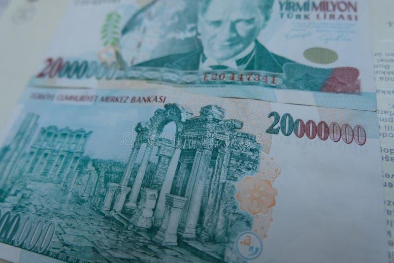 Końcowa stara Tureckiego lira pieniądze notatka zdjęcia stock