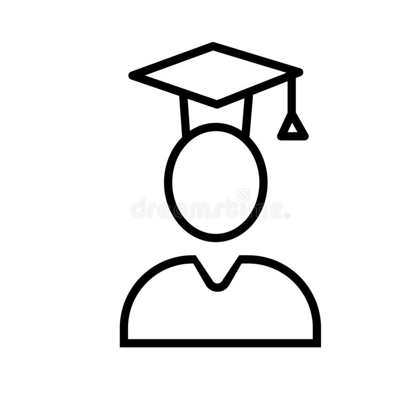 Kończący studia Studencki ikona wektor odizolowywający na białym tle, Kończący studia ucznia znak, liniowy symbol i uderzenie, pr royalty ilustracja