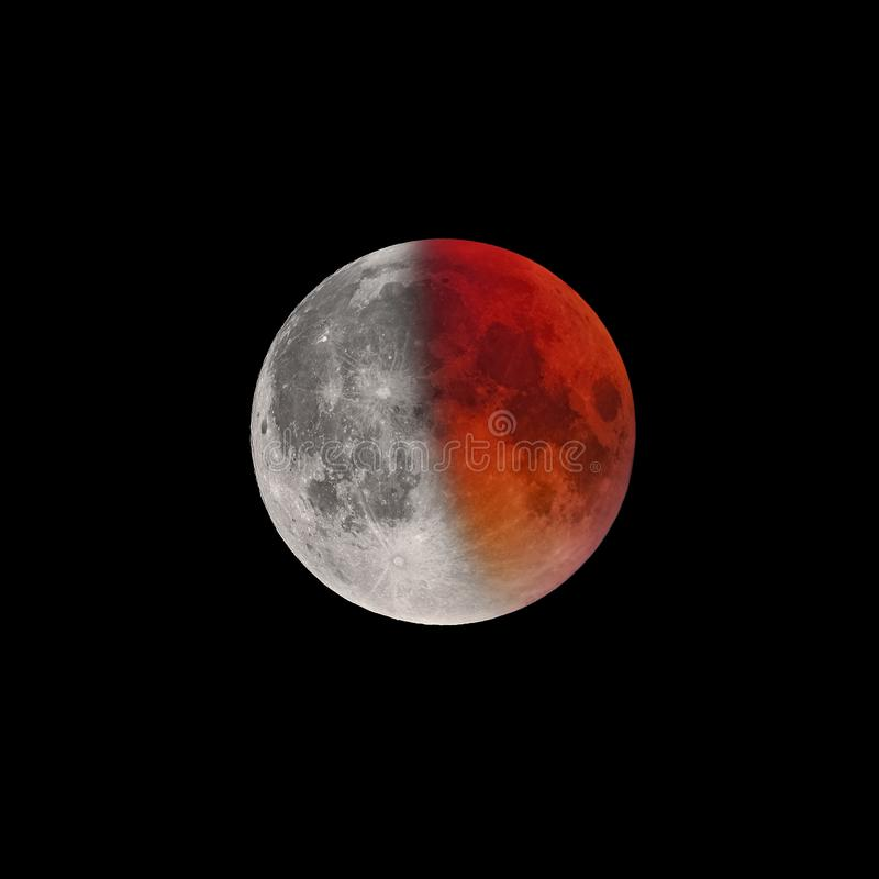 Kończyć faza Super Krwista księżyc folował zaćmienie obraz stock