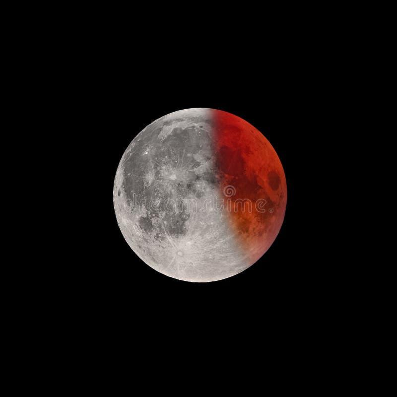 Kończy faza Super Krwista księżyc folujący zaćmienie zdjęcie royalty free