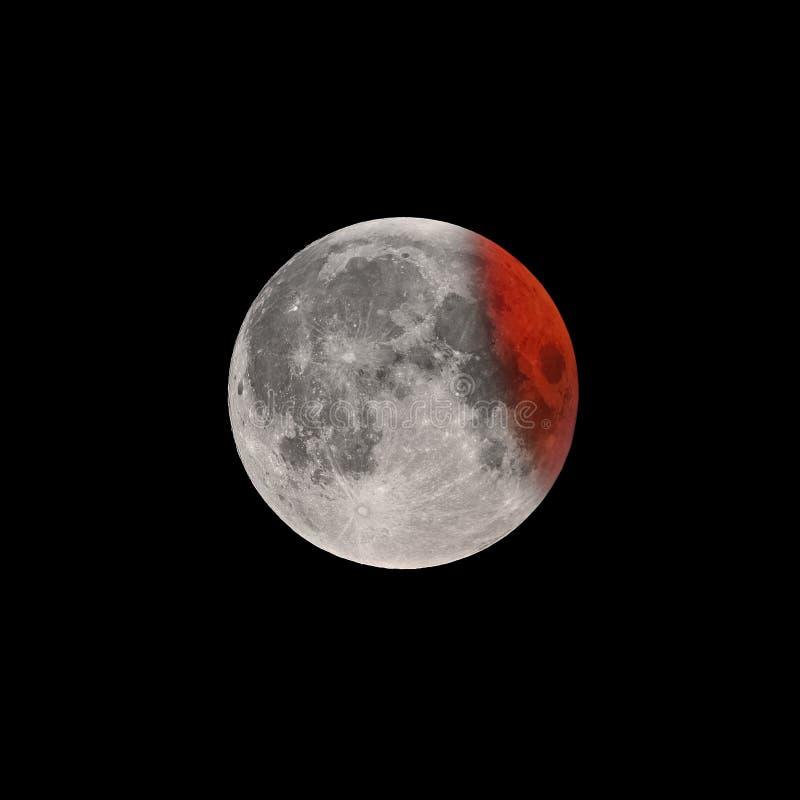 Kończy faza Super Krwista księżyc folujący zaćmienie obraz royalty free