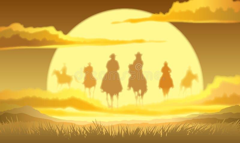 Końscy jeźdzowie w niebie ilustracji