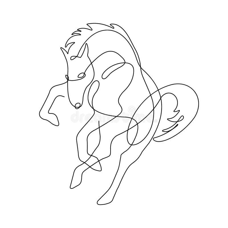 Końscy kopnięcia, jeden kreskowy rysunek, ilustracja wektor