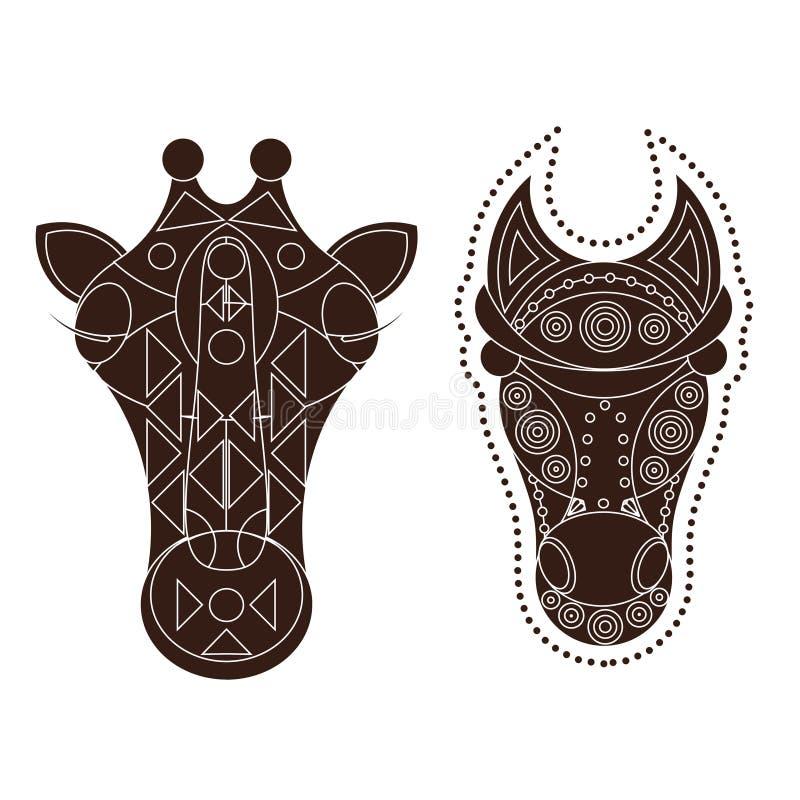 Końska żyrafy głowa dekorująca royalty ilustracja