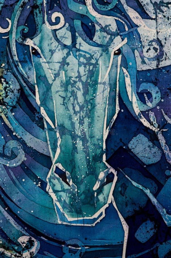 Końska głowa, kędzierzawy, turkusowy, gorący batik, tło tekstura, handmade na jedwabiu royalty ilustracja