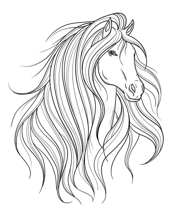 Końska głowa w kreskowej sztuki stylu Tatuaż sztuka Odosobniony element ilustracja wektor