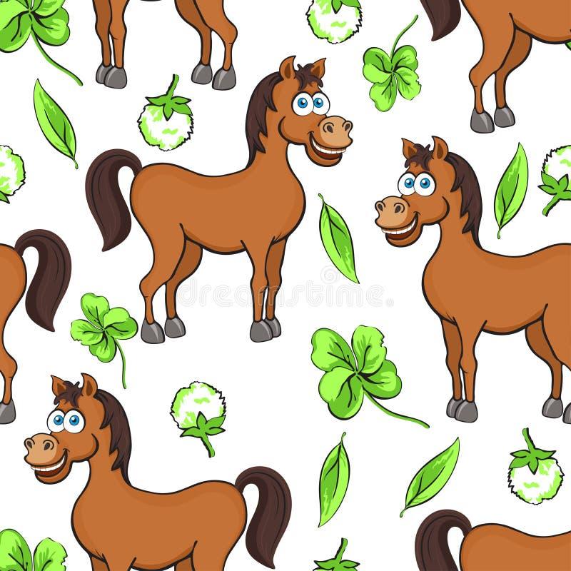 Końska kreskówka rysuje bezszwowego wzór, wektorowa ilustracja Śmieszni śliczni malujący brown koni kwiaty i koniczyna liście na  royalty ilustracja