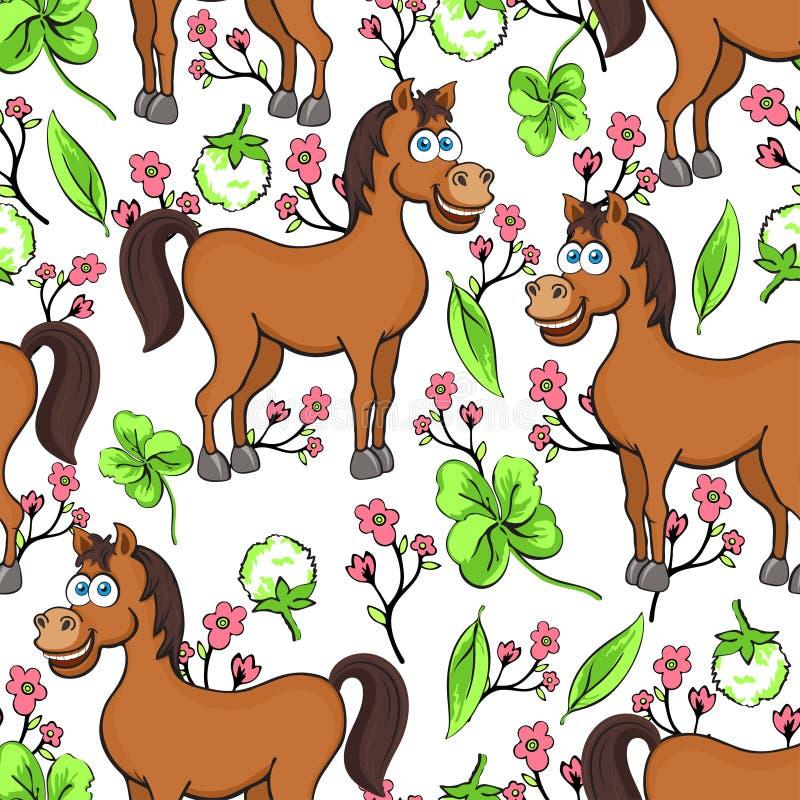 Końska kreskówka rysuje bezszwowego wzór, wektorowa ilustracja Śmieszny śliczny malujący brown koń, menchia kwiaty i koniczyna li ilustracja wektor