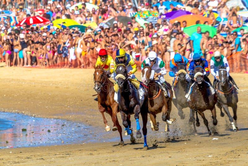 Końska rasa na Sanlucar Barrameda, Hiszpania, 2016 obraz stock