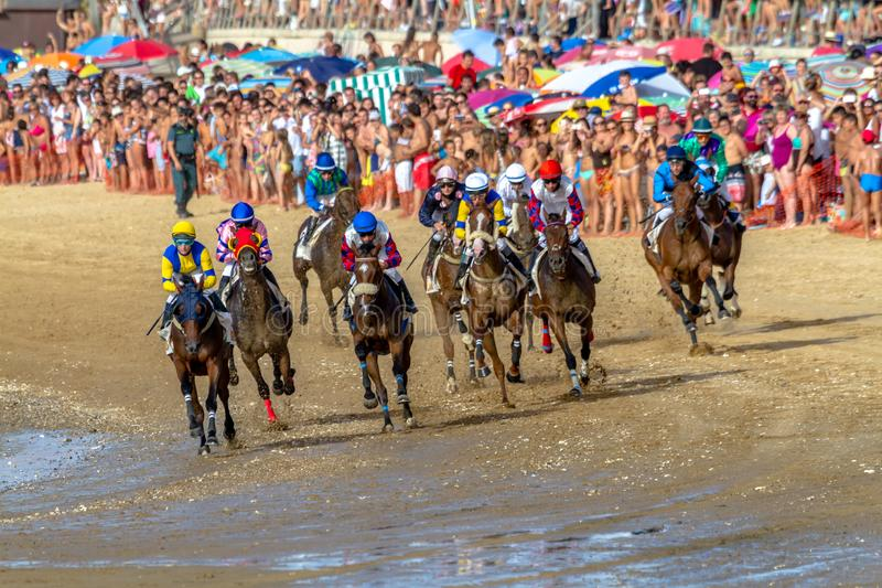 Końska rasa na Sanlucar Barrameda, Hiszpania, 2016 zdjęcie stock