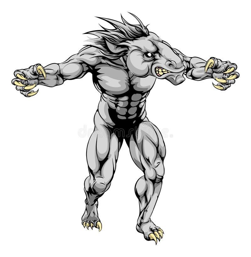 Końska straszna sport maskotka ilustracji