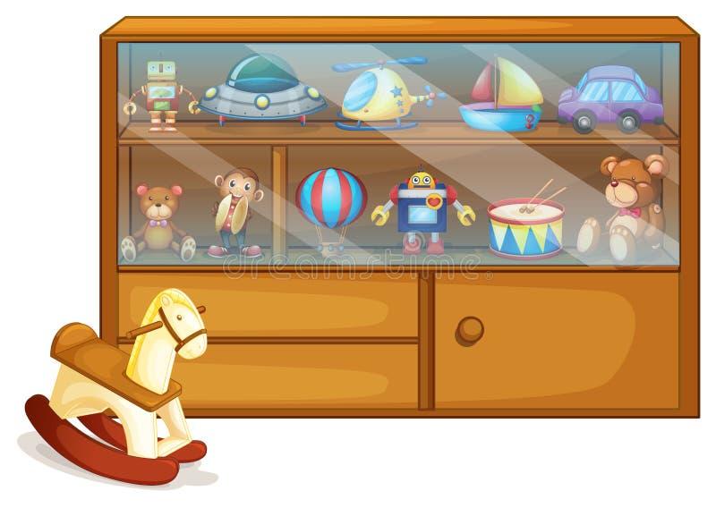 Końska zabawka obok drewnianego gabineta royalty ilustracja