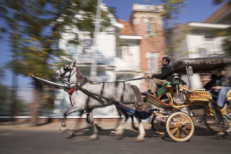 Koński fracht z stangretem i podróżnikami obraz stock